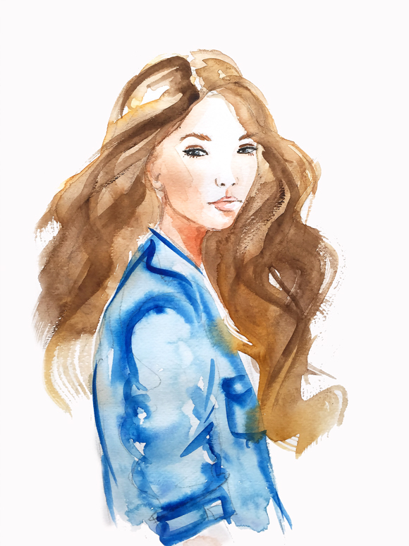 fashion illustration, watercolor art, fashion art by Elena Fay