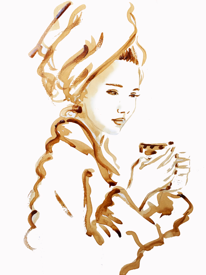 coffee painting, coffee art, speed painting, fashion illustration by Elena Fay