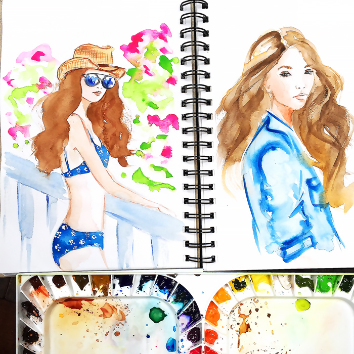 swimwear illustration, fashion illustration, fashion watercolor sketch, watercolor art by Elena Fay