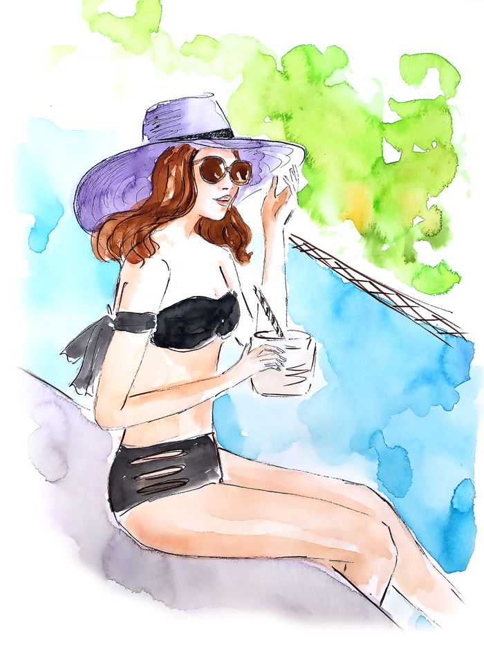 fashion illustration, watercolor illustration, trendy illustration
