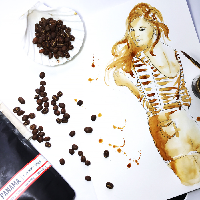 painting with coffee, coffee art, coffee illustration