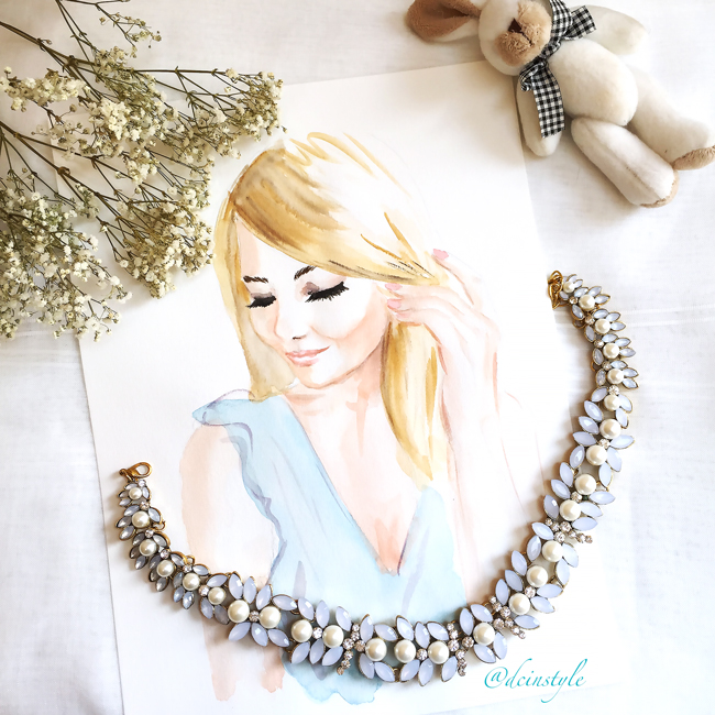 the shiny mix necklace, gorgeous necklace, fashion illustration, DC fashion blog