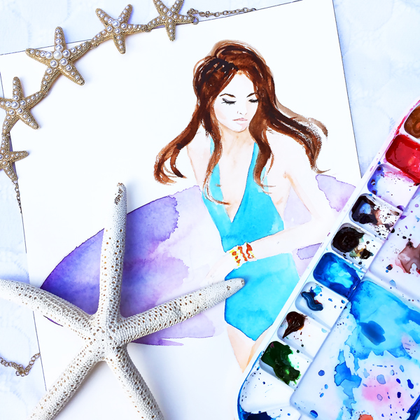 blumoss swimwear, fashion illustration, watercolor painting, DC fashion illustrator