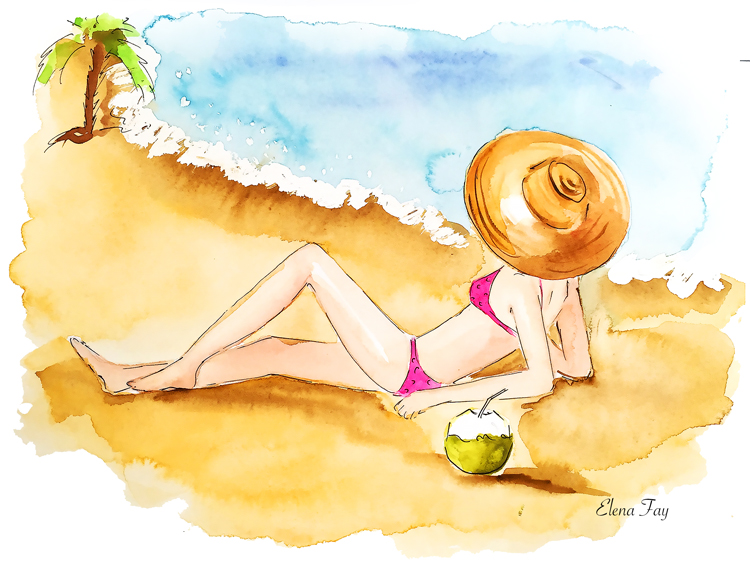 fashion illustration, summer sketch, watercolor illustration