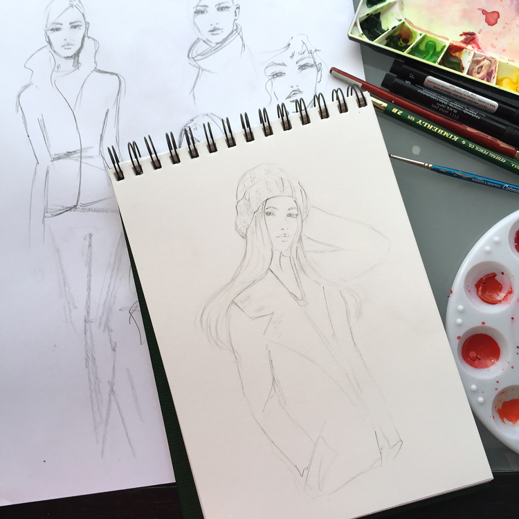 drawing, work in progress, fashion illustration, DC fashion blogger