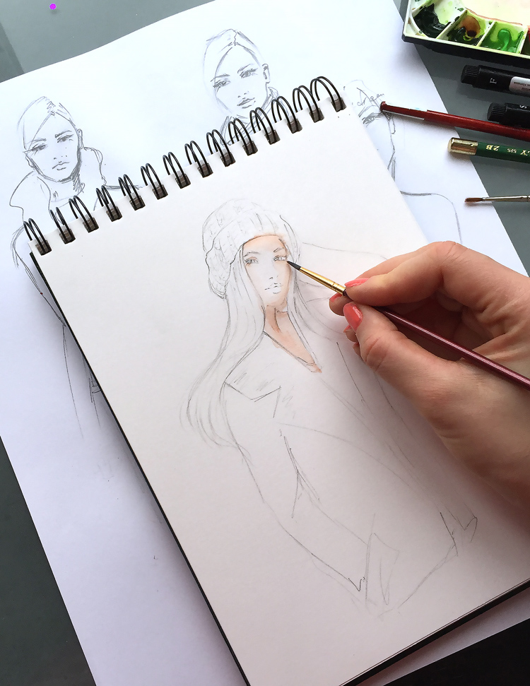 painting in progress, fashion illustration
