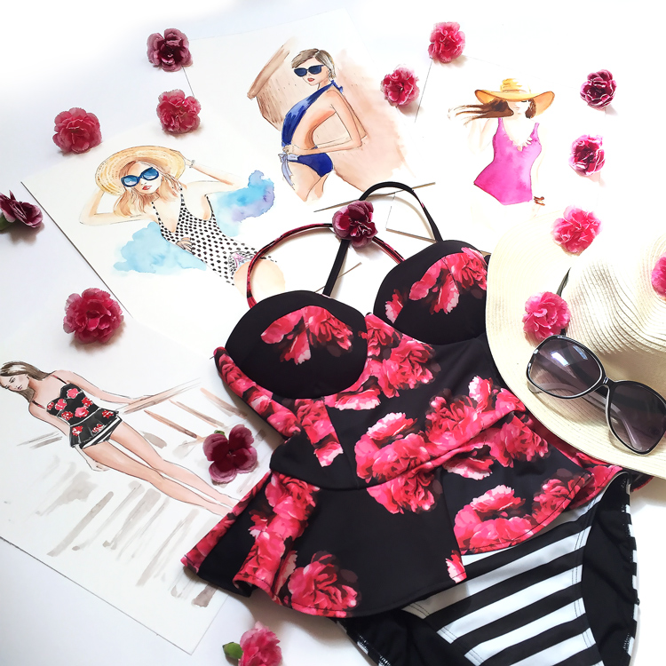 peplum swimwear, peplum top, floral swimwear