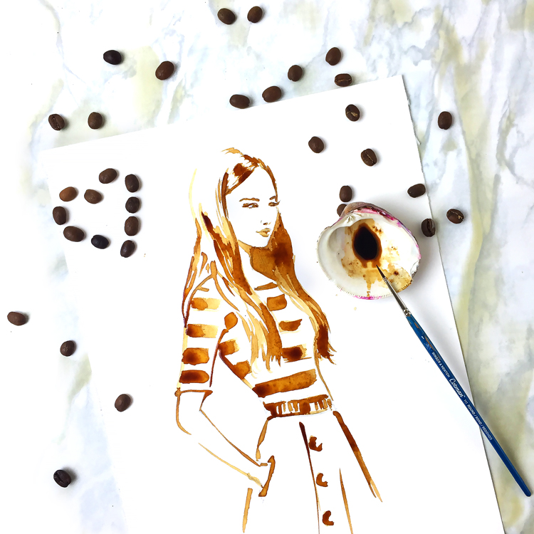 coffee art, fashion illustration, painting with coffee, DC fashion illustrator