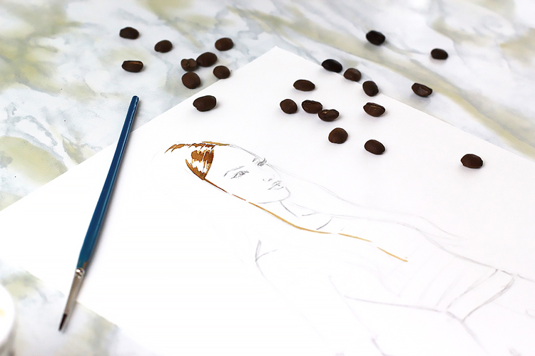coffee painting step by step