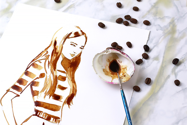 how to create fashion illustration painted with coffee