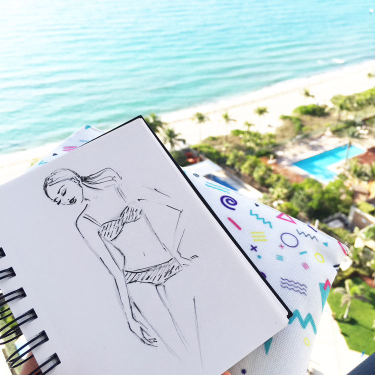 fashion illustration, ink sketch, Miami trip, travel with kids