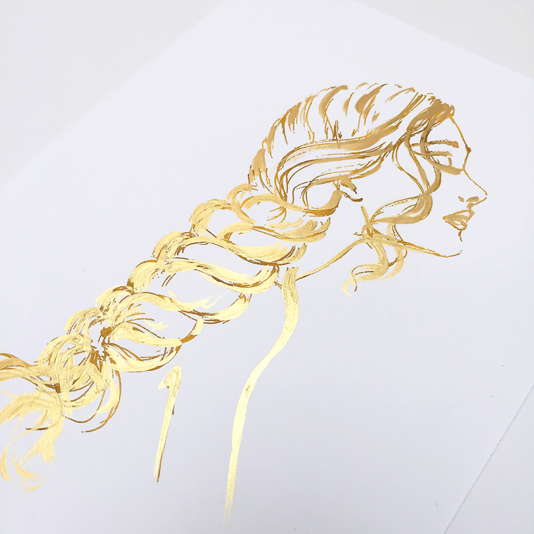 fashion illustration, gold print, gold wall art, fashion sketch in gold