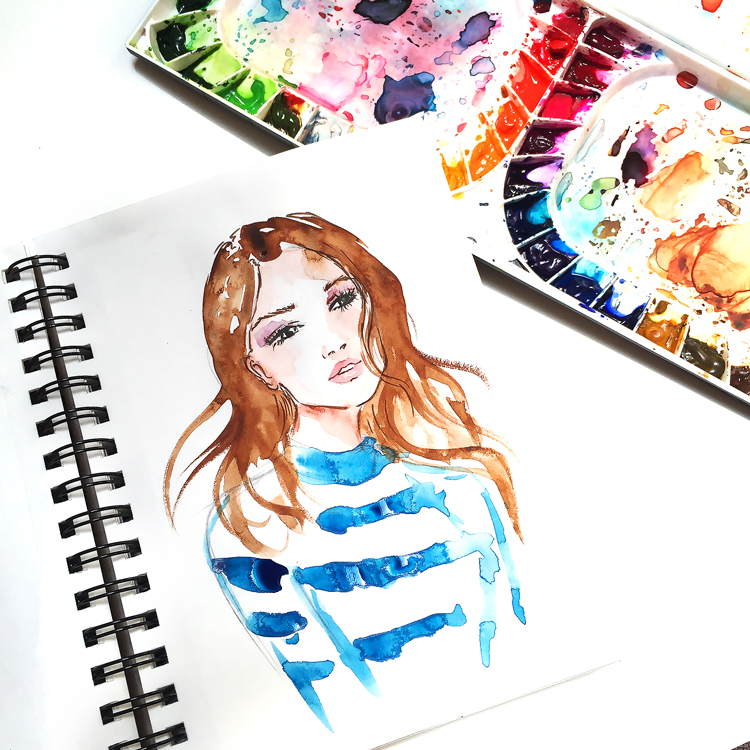 fashion illustration, russian blogger, Russian artist in USA, watercolor art