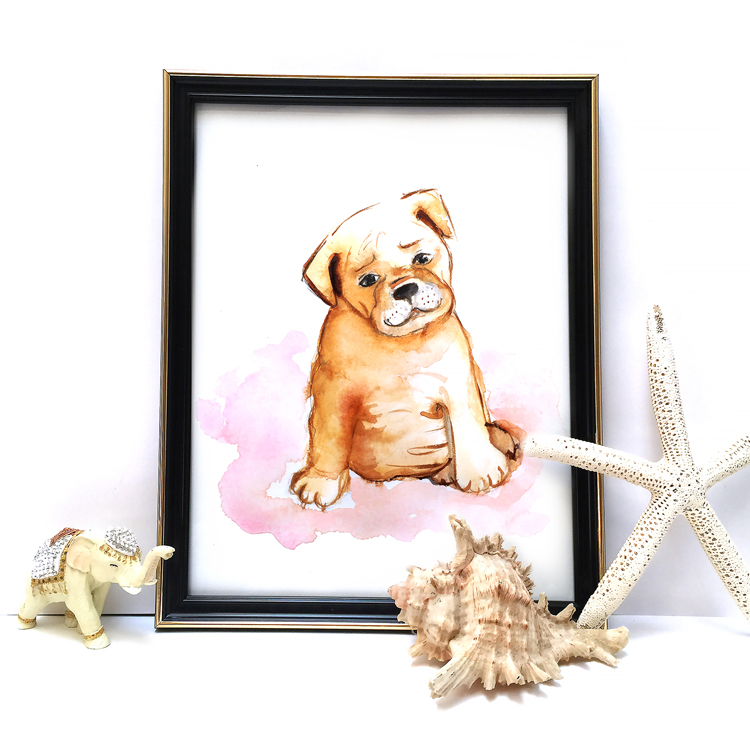 puppy watercolor painting by Elena Fay