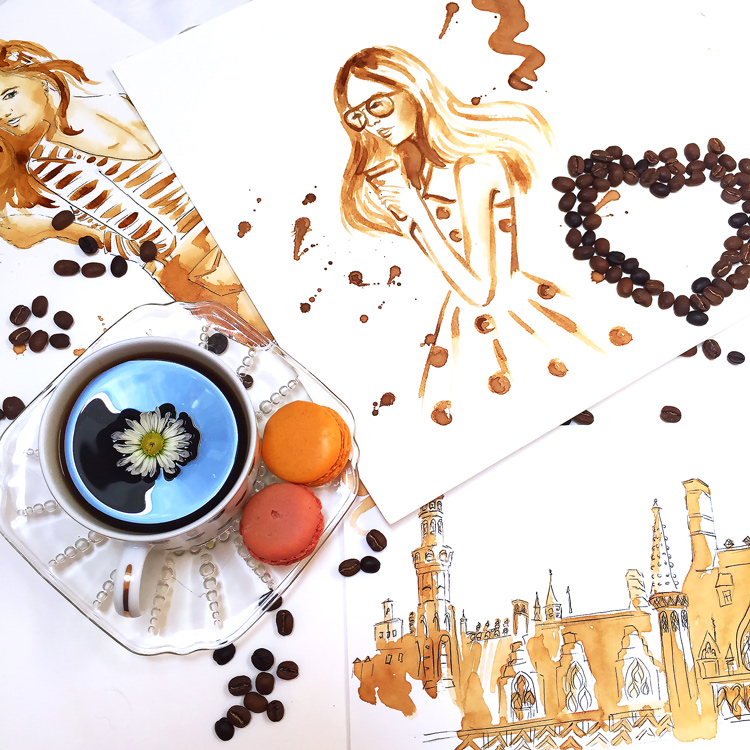 how to paint with coffee tips and tricks by Elena Fay