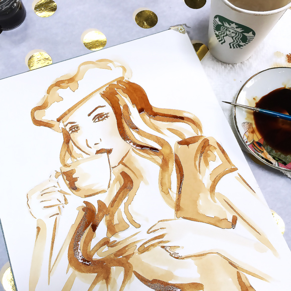 how to paint with coffee step by step