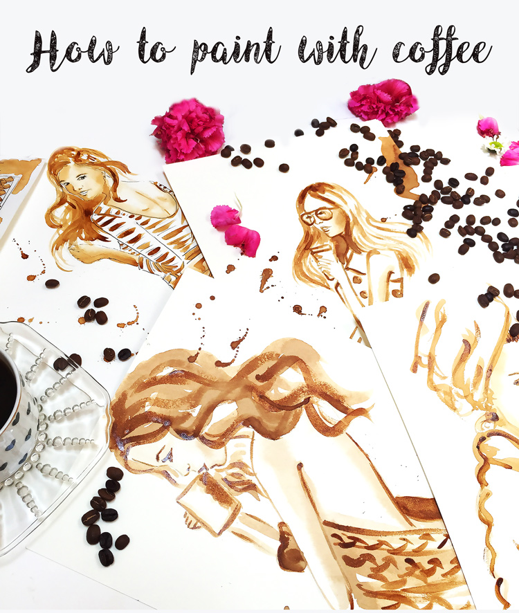 coffee painting tutorial by Elena Fay