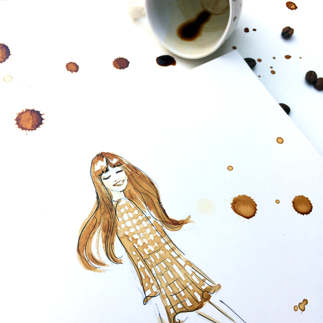 Monday coffee illustration, coffee art, coffee sketch, painting with coffee