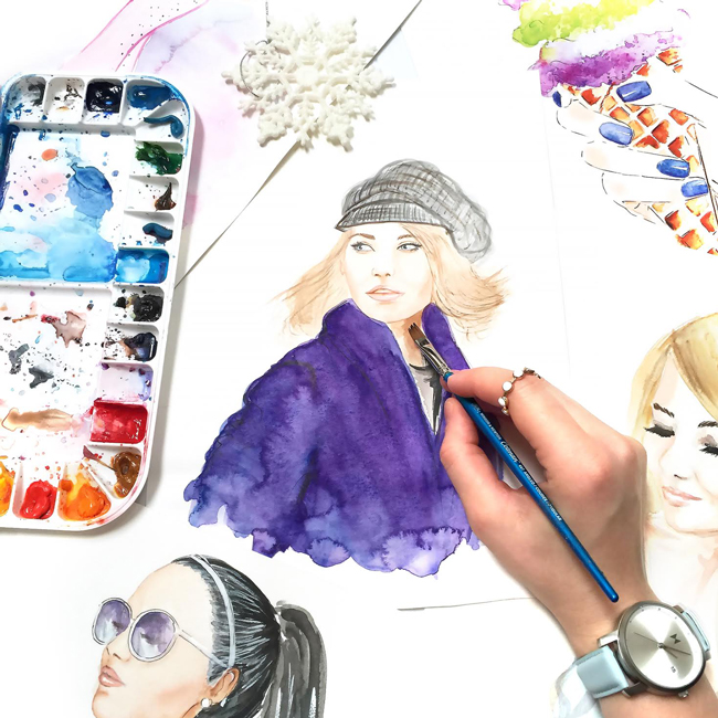 fashion illustration, watercolor painting, fashion art, custom portrait