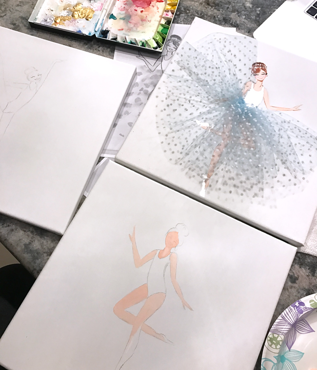 Ballerina art, nursery art, tulle, fashion art