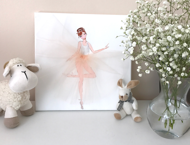 Ballerina art, nursery art, tulle, fashion art, cute little ballerinas