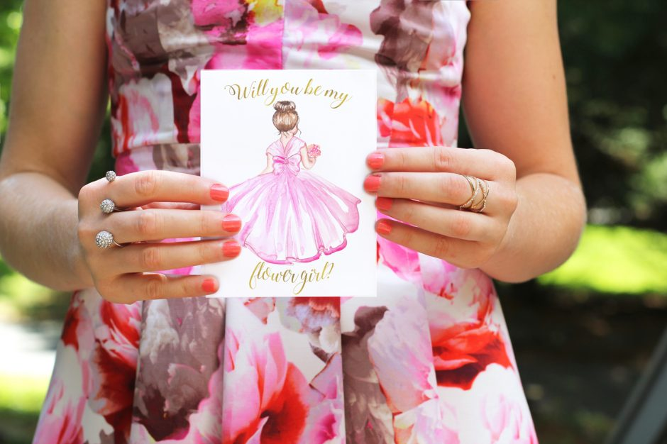 will you be my flower girl, wedding printable, printable cards, watercolor cards by Elena Fay