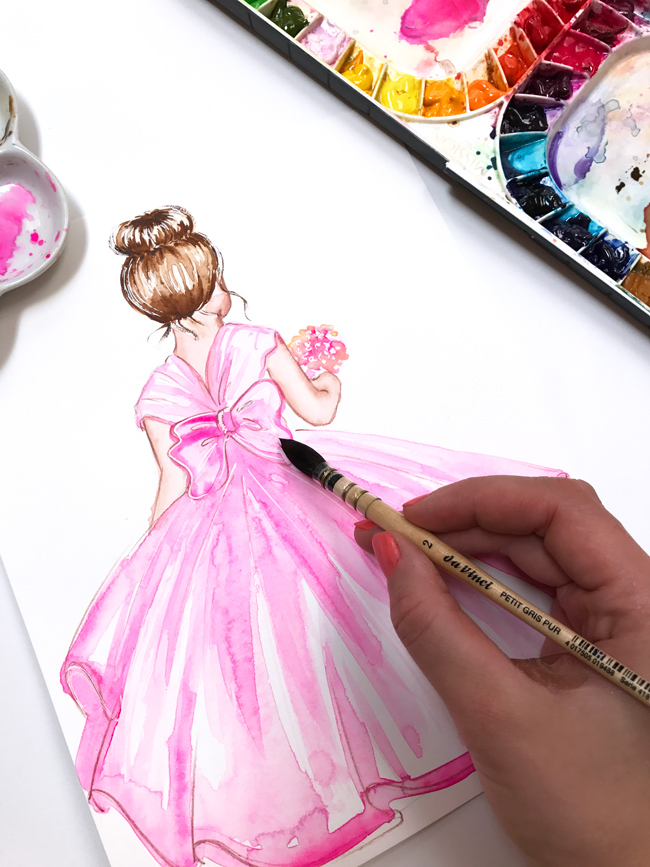 girl in pink dress, watercolor illustration