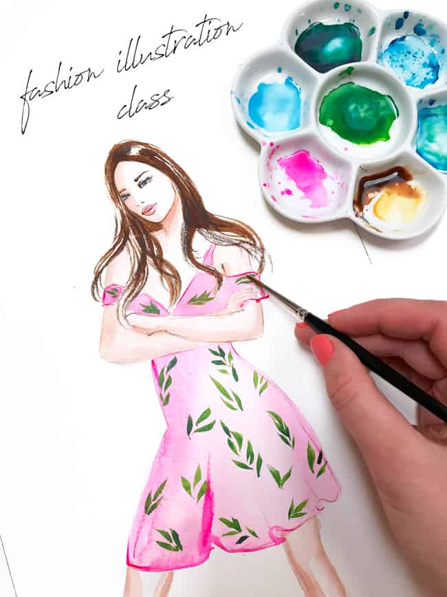 fashion illustration class, watercolor illustration, art by Elena Fay