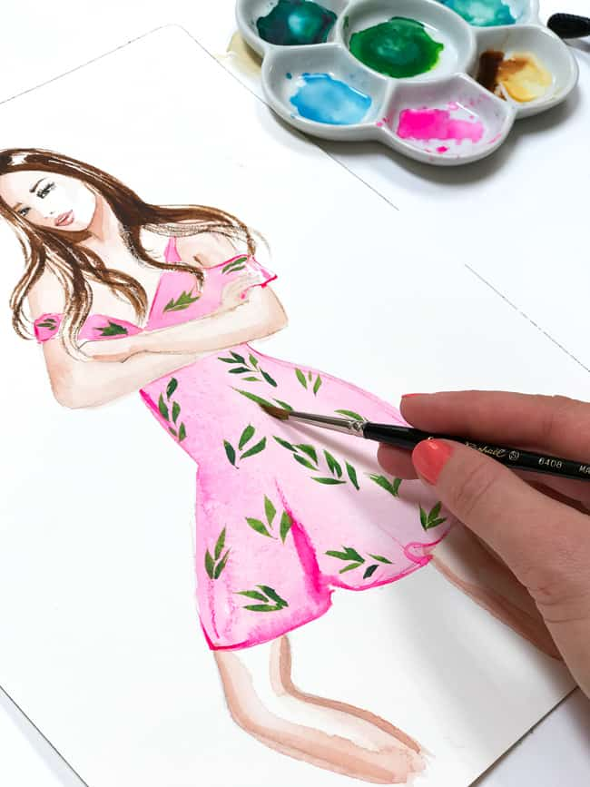 fashion illustration, watercolor illustration, art by Elena Fay