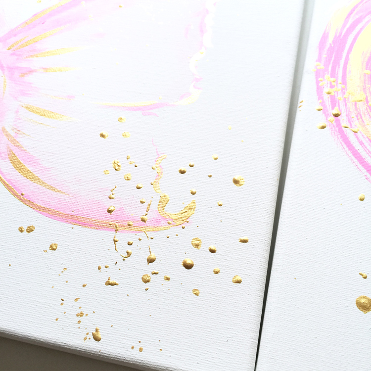 pink and gold nursery art