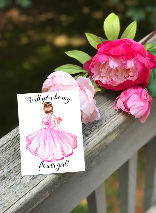flower girl card printable, wedding printable